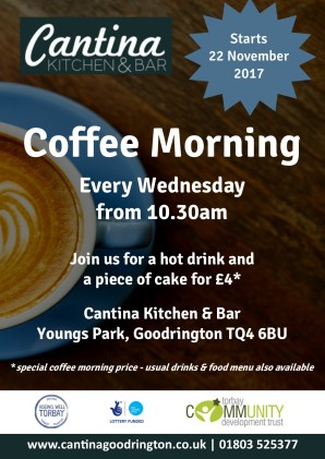 Cantina coffee morning poster TCDT newsletter