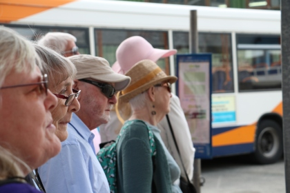 Queuing for a bus at Paignton Bus Station