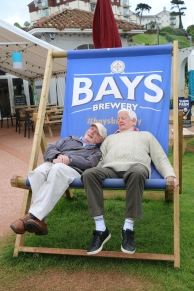 Chilling on a giant deck chair outside Cantina Kitchen and Bar, Paignton