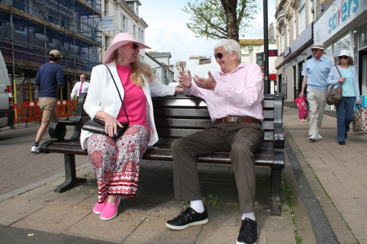 Having a conversation in Paignton Town Centre.