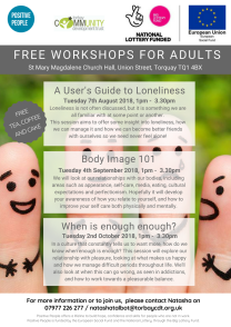 Self Development Workshop Loneliness Body Image and When is Enough
